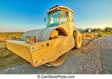 Steamroller in road work - Closeup of steamroller in a ...