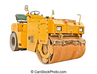 Yellow steamroller isolated on white background