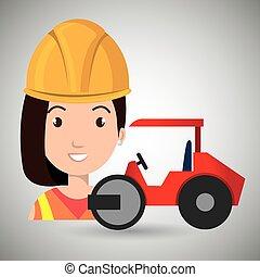 steamroller, lavoratore costruzione
