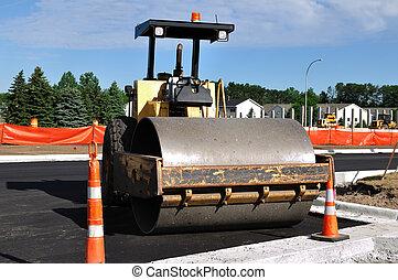 steamroller, local construção, estrada