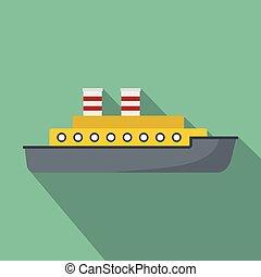 Steamship icon, flat style