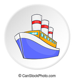 Steamship icon, isometric style