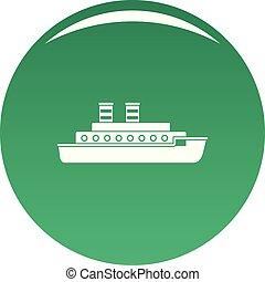 Steamship icon vector green