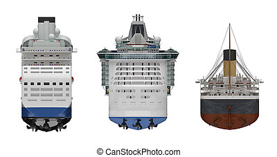 steamship rear view isolated white 3d rendering
