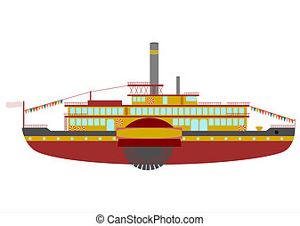 Retro steamboat cruise on a white background.