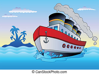 Steamship sailing in sea - vector illustration.