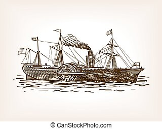 Steamship sketch style vector illustration