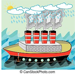 Steamship Traveling in Stormy Weather