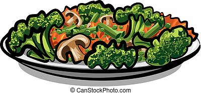 steamy boiled vegetables