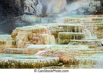 Mammoth Hot Springs - Steamy, colorful terraced rock ...