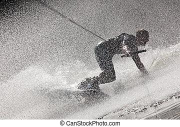 Steamy Waterboarding Drift - Photo Of A Dynamic Water-...