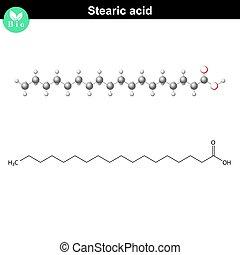 Stearic acid molecule, stearate molecular structure, fatty ...