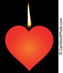 stearinljus, in, den, bilda, av, röd, hjärtan