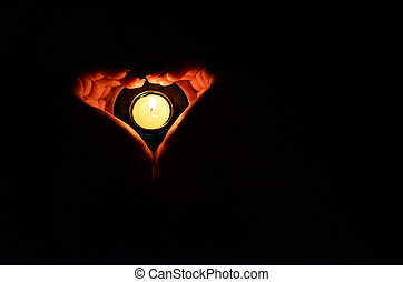 stearinljus, in, den, räcker