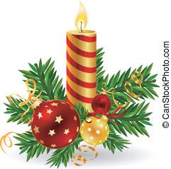stearinljus, med, agremanger, för, jul