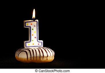 stearinljus, min, Födelsedag, en, första