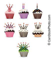 stearinljus, sätta, cupcake