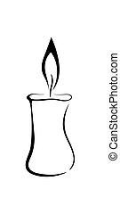 stearinljus, symbol, vektor