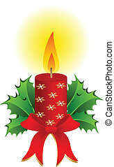 stearinljus, vektor, jul