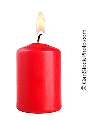 stearinljus, vit, isolerat, bakgrund, röd