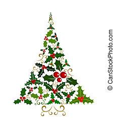 stechpalme, baum, weihnachten