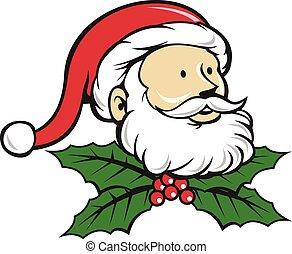 stechpalme, kopf, vater, claus, santa, weihnachten, karikatur