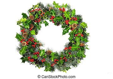 stechpalme, kranz, weihnachten
