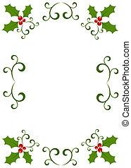 stechpalme, rahmen, weihnachten