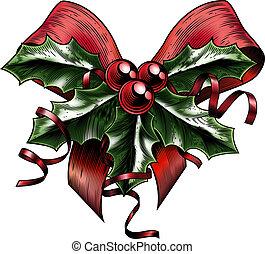 stechpalme, weinlese, weihnachten, holzschnitt, schleife
