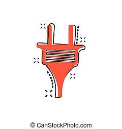 stecker, draht, elektrische strom, concept., effekt, abbildung, zeichen, geschaeftswelt, spritzen, vektor, pictogram., kabel, komiker, style., karikatur, ikone