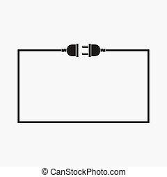 stecker, draht, steckdose, -, vektor, illustration.