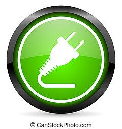 stecker, grün, glänzend, hintergrund, weißes, ikone