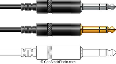 stecker, klingen, anschluss, audiogerät