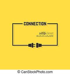 stecker, socket., abstrakt, draht, hintergrund