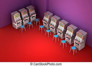 steckplatz bearbeitet, in, der, kasino, inneneinrichtung