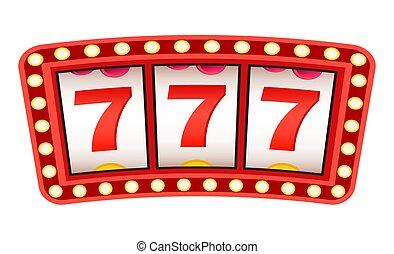 steckplatz, sevens, 777, glücklich, zeichen, maschine, dreifach