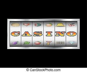 steckplatz, spulen, kasinovorzeichen
