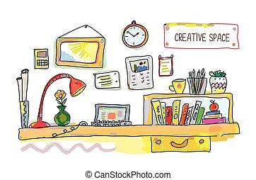 sted, arbejde, banner, kreative