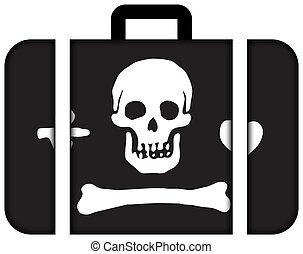 stede, 女帽, 海盜, flag., 小提箱, 圖象, 旅行, 以及, 運輸, 概念