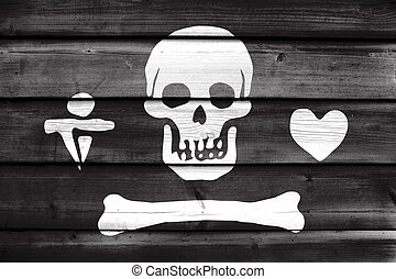 Stede Bonnet Pirate Flag, painted on old wood plank background