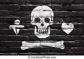 Stede Bonnet Pirate Flag, painted on brick wall