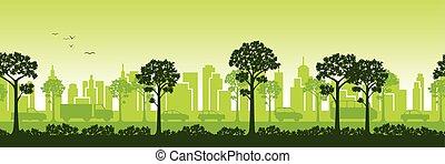 stedelijk landschap, zijn, voortdurend, ook, panoramisch, gebruikt, groenteblik