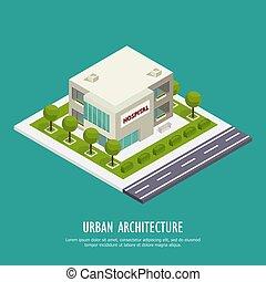 stedelijke , architectuur, isometric, achtergrond