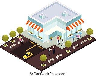 stedelijke , architectuur, isometric, samenstelling