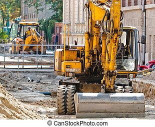 stedelijke bouw, excavators, bouwterrein, groot
