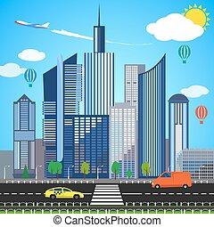 stedelijke , concept., vector, illustratie, aarde