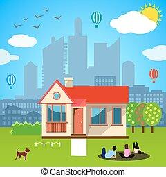 stedelijke , concept., vector, illustratie, thuis
