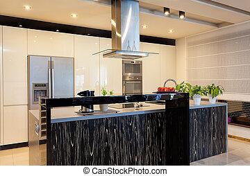 stedelijke , flat, -, black , toonbank, in, keuken