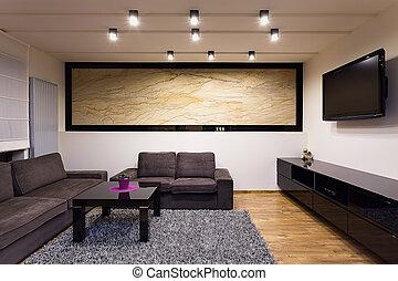 stedelijke , flat, -, comfortabel, woonkamer