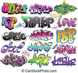 stedelijke graffiti, vector, kunst, set